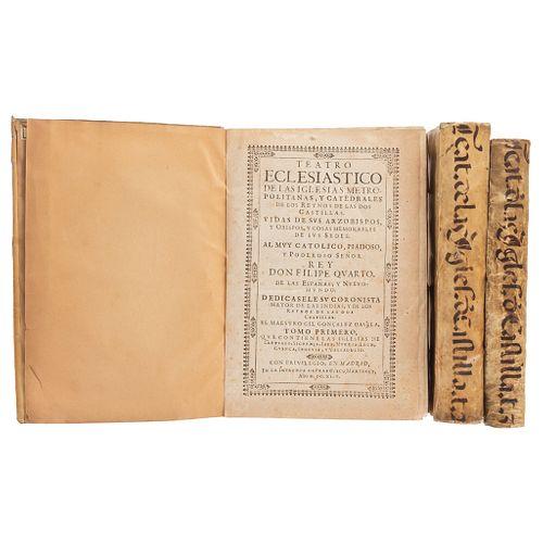 GIL GONZÁLEZ DÁVILA TEATRO ECLESIÁSTICO DE LAS IGLESIAS METROPOLITANAS Y CATEDRALES... MADRID, 1645-50. Tomos I-III. Pzs: 3.   GIL GONZÁLEZ DÁVILA TEA