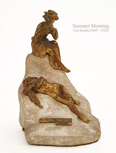 Summer Morning, A Rare CARL KAUBA Bronze Figurine Group