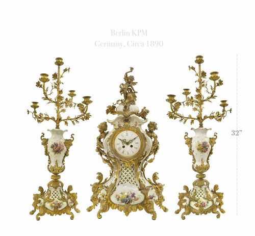 19th C. Ormolu Mounted Berlin KPM Porcelain Clock Set