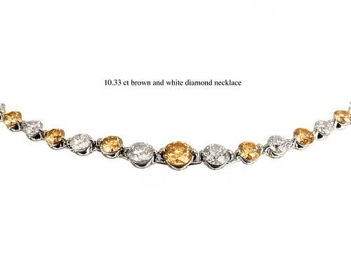 Brown & White Diamond Platinum Necklace