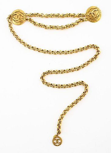 Chanel Gold-Tone Metal Link Belt with Medallion