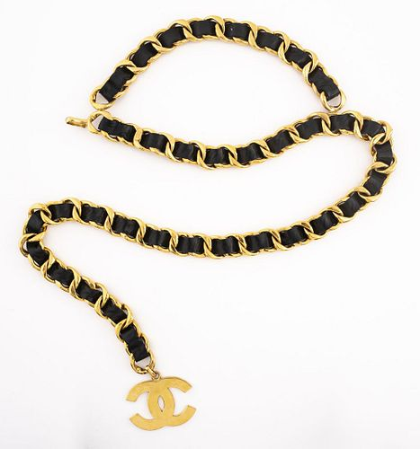 Chanel Gold-Tone Cuban Link and Black Leather Belt