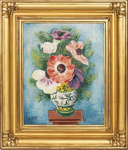 Moise Kisling Anémones Dans un Vase, Oil on Canvas