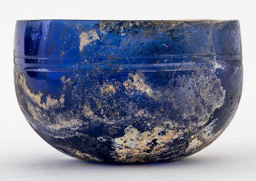 Ancient Roman Cobalt Glass Bowl