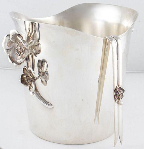 Christofle Anemone Belle Époque Ice Bucket & Tongs