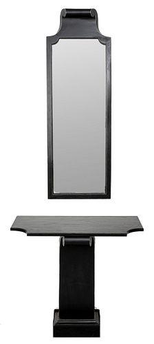 Grosfeld House Ebonized Wall Console and Mirror