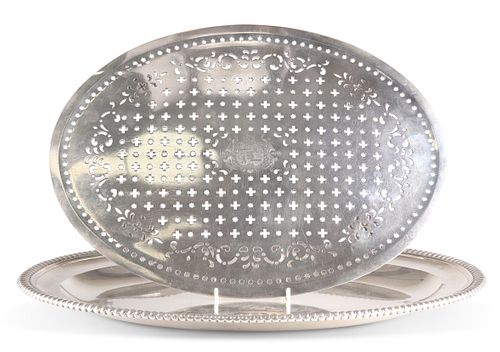 A SUBSTANTIAL GEORGE III SILVER MEAT DISH AND MAZARINE, by Paul Storr, Lond