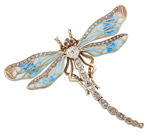 A LATE 19TH/EARLY 20TH CENTURY RUSSIAN ENAMEL, DIAMOND AND GEMSTONE DRAGONF