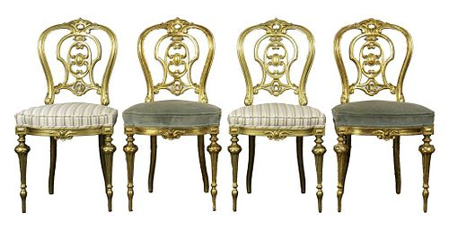 French Rococo Style Giltwood Side Chairs, 4