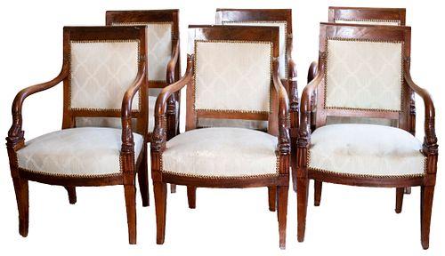 Regency Style Mahogany Dining Chairs, 6