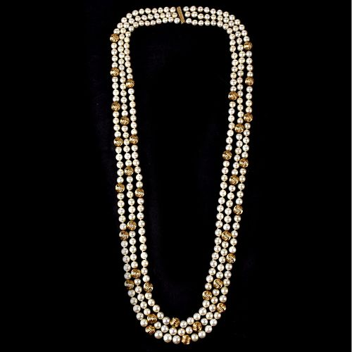 David Webb Pearl and 14K Necklace