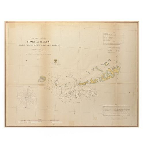 Antique Preliminary Chart of Florida Reefs
