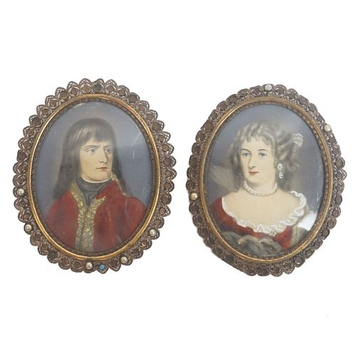 Pair of Miniatures on Celluloid