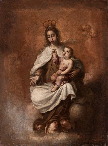 "Workshop of BARTOLOMÉ ESTABAN MURILLO (Seville, 1617 - Cadiz, 1682). ""Virgin of La Merced"". Oil on canvas."