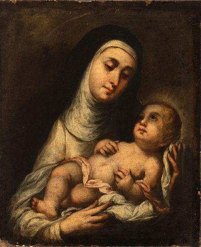 "Workshop of BARTOLOME ESTEBAN MURILLO (Seville, 1617 - 1682).  ""Saint Rose of Lima with the Infant Jesus"".  Oil on canvas. Relined."