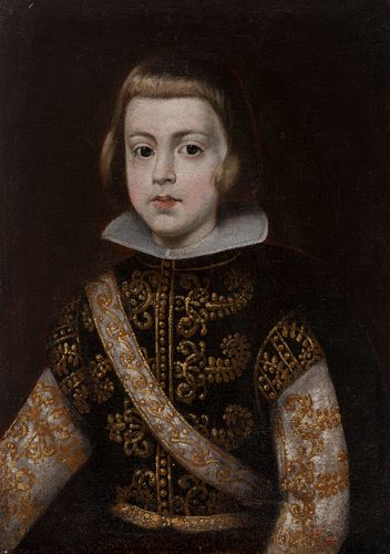 """Velázquez Circle; Formerly attributed to the master Don DIEGO DE VELÁZQUEZ (Seville, 1599 - Madrid, 1660).  """"Prince Baltasar Carlos"""".  Oil on canvas."""