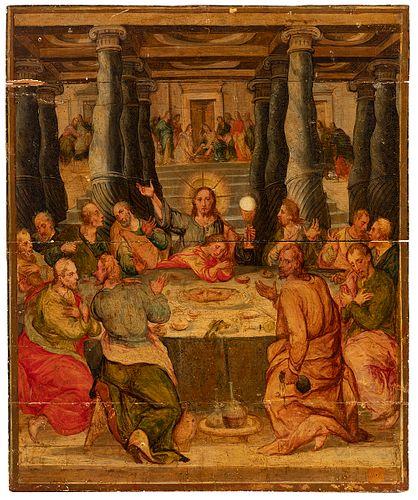 "Spanish school; second half of the 17th century.  ""Last Supper"".  Oil on panel."