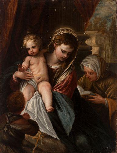 """ANTONIO FRÍAS Y ESCALANTE Cordoba, 1633 - Madrid, 1669).  """"La Virgen con el Niño, San Juanito y Santa Ana"""".  Oil on canvas. Relining."""