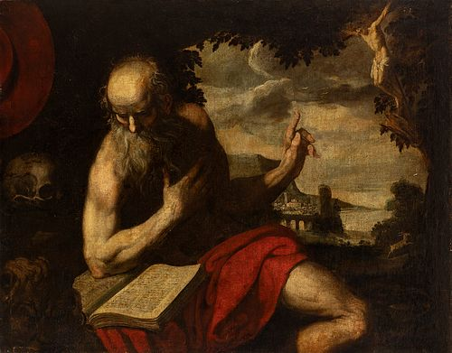 """Spanish school; 17th century. """"San Jeronimo Penitent"""". Oil on canvas. Antique relined."""