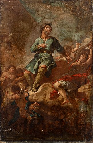 """Attributed to CORRADO GIAQUINTO (Italy, 1703 - 1765/66). """"San Isidro the farmer."""" Oil on canvas. Relined."""