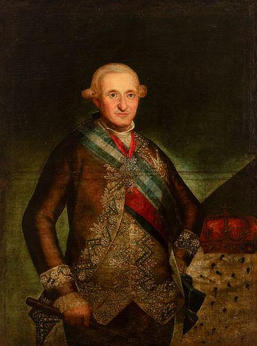 "Circle of FRANCISCO DE GOYA Y LUCIENTES (Fuendetodos, Zaragoza, 1746 - Bordeaux, France, 1828). ""Portrait of Charles IV."" Oil on canvas. Relined"