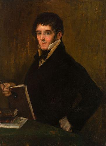 "Spanish school; first half of the 19th century. ""Portrait of the engraver Rafael Esteve"". Oil on canvas."