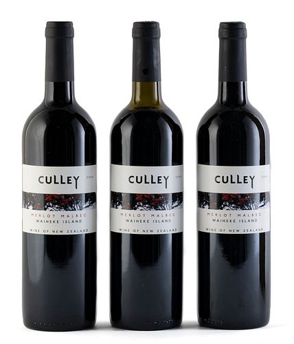 Three Culley Waiheke Island bottles, 2004 vintage. Neill Culley Winemaker. Category: red wine. Auckland (New Zealand). Level: two of them A and one C.