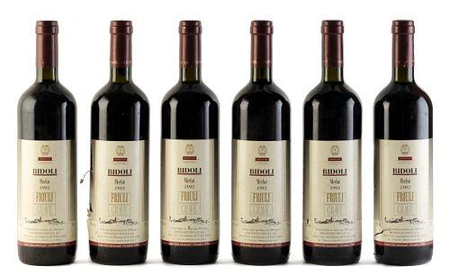 Six Bidoli Merlot bottles, vintage 1993. Category: red wine. Friuli D.O.C., Venezia-Giulia (Italy). Level: B. 750 ml.