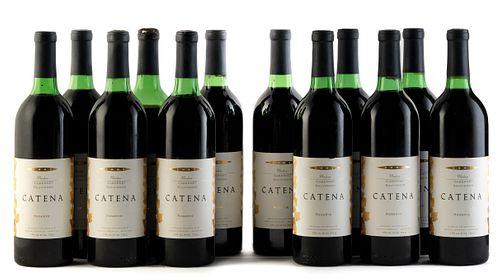 Twelve Catena Reserve Cabernet Sauvignon bottles, 1991 vintage. Bodegas Esmeralda Category: red wine. Junín, Mendoza (Argentina). Level: A/B/C/D. 750