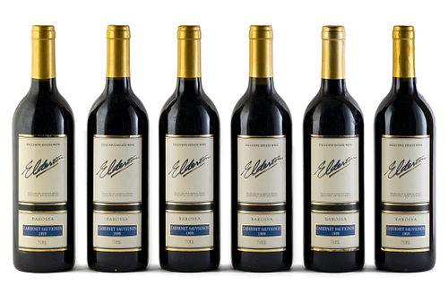 Six Elderton bottles, vintage 1999. Elderton Wines. Category: Cabernet Sauvignon red wine. Nurioopta, Barossa Valley (Australia). Level: A. 750 ml.