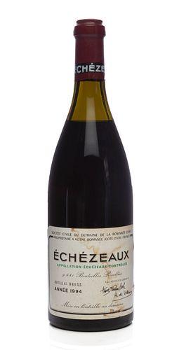 A bottle of Échezeaux, Domaine de la Romanée Contí, Vintage 1994. Grand Cru. Category: red wine. Vosne-Romanée, Còte d'Or (France). Level: C-D. Bottle
