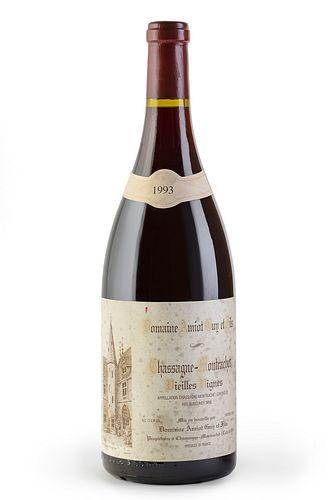 A Magnum bottle of Domaine Amiot Guy et Fils, Grand Crú Vielles Vignes, vintage 1993. Category: red wine. Chassagne Montrachet, Côte d'Or (France). Le