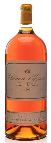 One bottle Methuselah, Château d'Yquem, 1993 vintage. Category: sweet white wine. Lur Saluces- Sauternes, France. Level: A. 6 L.