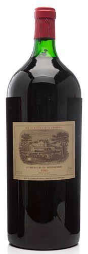 A bottle Methuselah (600cl) of Château Lafite Rothschild, 1986 vintage. Category: red wine. Pauillac, Bordeaux. Level: B. Parker Guide: 100 points. 60