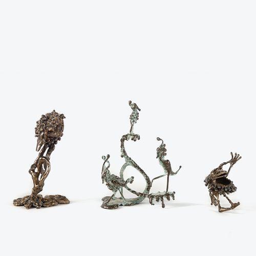 Boris Gilbertson, Group of Three Bronze Whimsy Figures