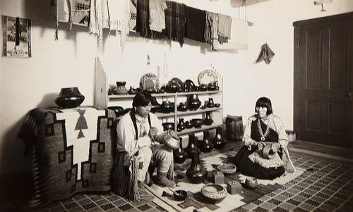T. Harmon Parkhurst, Tonita and Juan Roybal in their Studio Shop, 1932