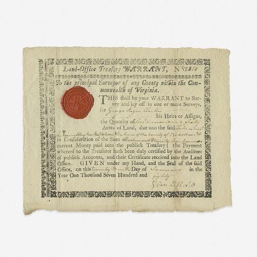 [American Revolution] [Clark, George Rogers] Virginia Land Warrant