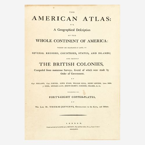 [Americana] Jefferys, Thomas The American Atlas: Or, a Geographical Description of the Whole Continent of America...