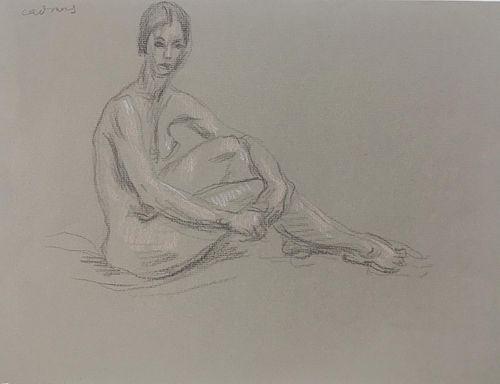 Paul Cadmus - Seated Female Nude Original Drawing