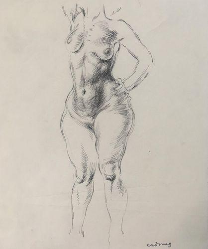 Paul Cadmus - Female Nude Torso Original Drawing