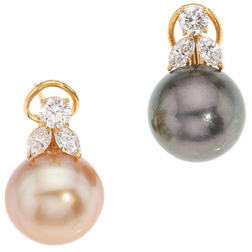 PAR DE ARETES CON PERLAS CALABAZO Y DIAMANTES EN ORO AMARILLO DE 18K Y 14K con perlas color negro y dorado | PAIR OF EARRINGS WITH CALABOZO PEARLS AND
