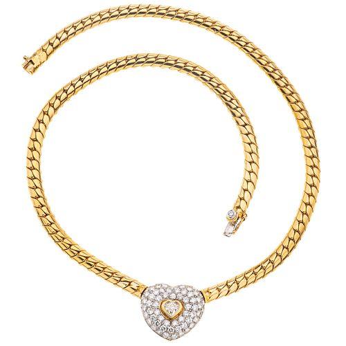 GARGANTILLA CON DIAMANTES EN ORO AMARILLO DE 18K con un diamante corte corazón ~0.45 ct Claridad: VS2 Color: K | CHOKER WITH DIAMONDS IN 18K YELLOW GO