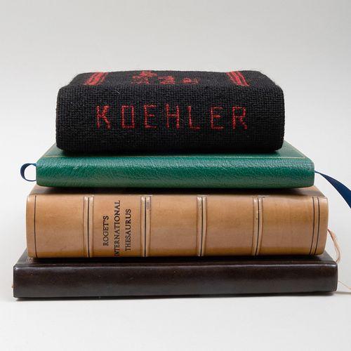 Modern Mahogany Book Stand and a Group of Henry Koehler Ephemera
