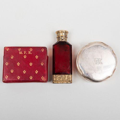 14k Gold Box, a Tiffany & Co. Silver Box, and a Victorian Silver-Gilt Glass Scent Bottle Vinaigrette