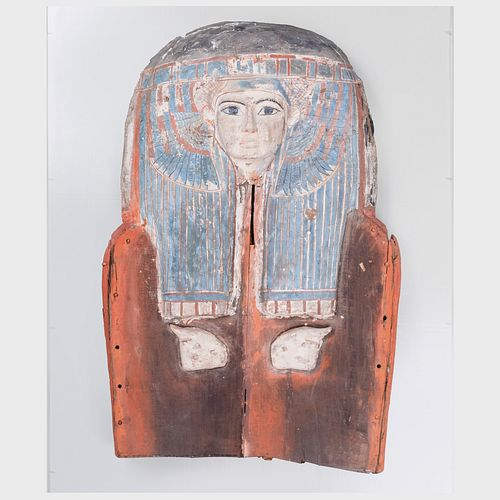 Egyptian Painted Wood Sarcophagus Cover