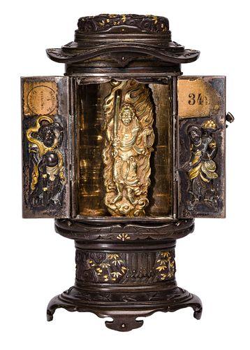 Buddhist Shibuichi (Copper / Silver) and Gold Miniature Shrine / Zushi