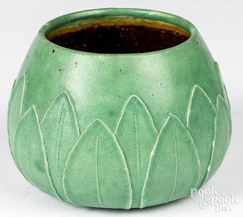 Grueby Pottery matte green bowl form vase