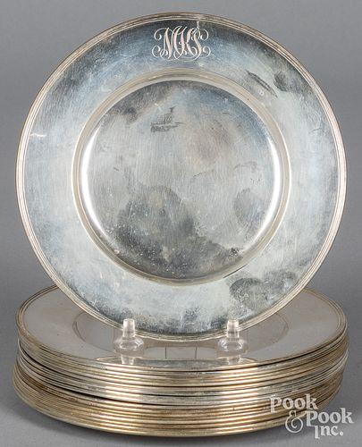 Eighteen Gorham sterling silver small plates