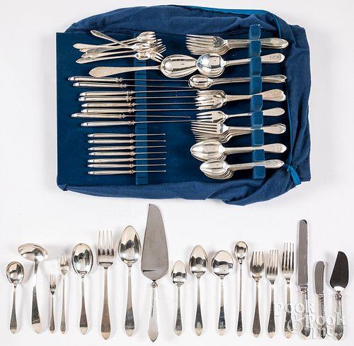 Tiffany ninety-six piece sterling silver flatware