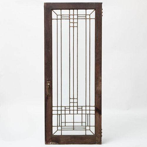 Frank Lloyd Wright Style Leaded Glass Window Circa 1910